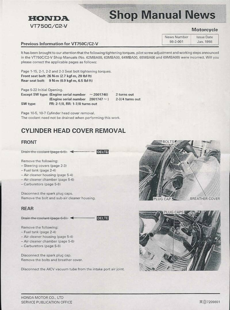 Valve Adjustment Vt750dc Wiring Diagram Due To The Extreme Interest In Adjusting Ones Own Valves Here Are Scans Of Procedure From Honda Service Manual